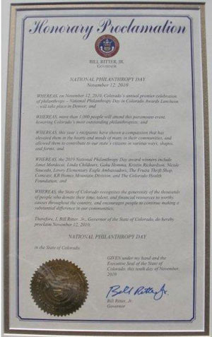 Governor's Proclamation (Click to Enlarge)