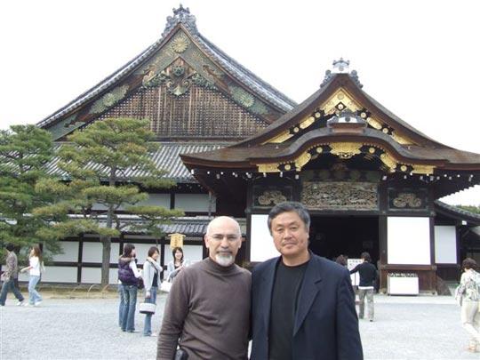 Homma Kancho and Ali Sensei in front of the Kyoto Nijo Castle.