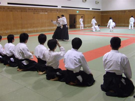 Two aikido clubs in one space. In foreground , our hosts from the Aikikai Aikido club.