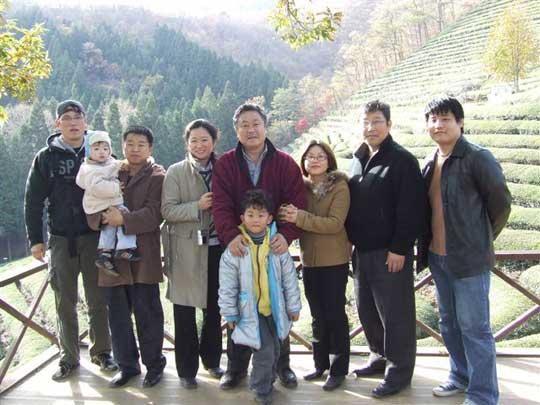 Tea plantations outside of Suncheon. From left; Min Sensei, Homma Kancho,  second from right Yoon Sensei.
