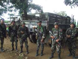 Security is a serious business for  these Philippine soldiers.