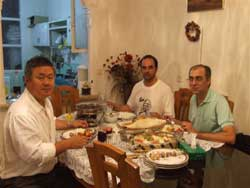 Dinner at Ali Sensei's home.  Center: Ali Sensei, Right: Mr. Rashad.