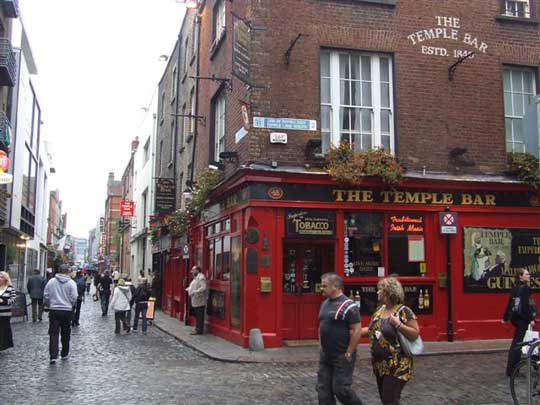A favorite spot for a Guinness; The Temple Bar, since 1840.