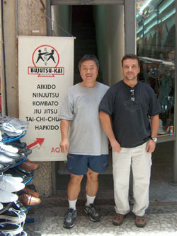 In front of the dojo with Marcio.