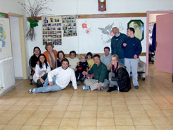 Inside the Center with staff and residents.