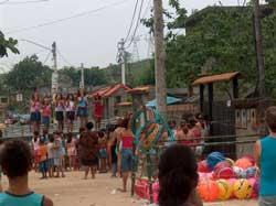 Karaoke contest for the children in Santo Aleixo.