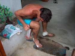 Luc Leoni Sensei's feet covered in blisters.