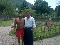 With Mr. Seed who maintains the garden at Okaeri dojo.