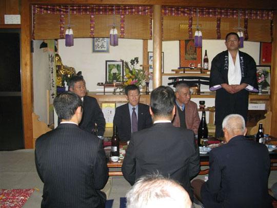 Saito Jukucho with Kobayashi Shihan and Inoue Shihan at the celebration party.