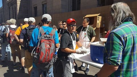 Saito Jukucho joined Nippon Kan staff in serving 300 meals to the homeless in Denver on Aug 21st, 2016