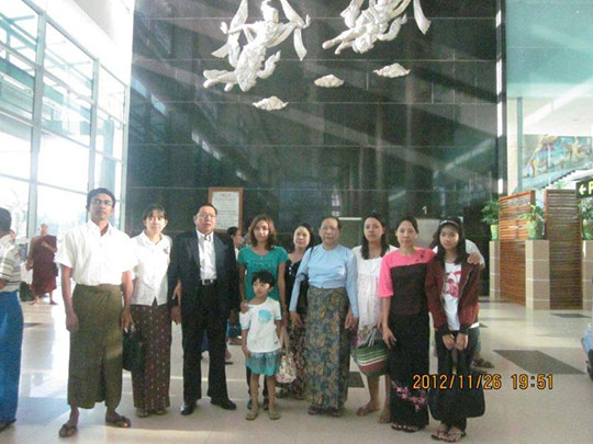 Mr. Than with his family before leaving Myanmar
