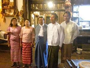 Lakhine staff cooked a traditional Myanmar meal and wore traditional clothing for the reception