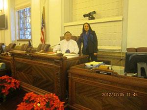 With Denver City Councilwoman Debbie Ortega at Denver City Council Chambers