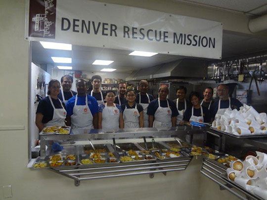 Nippon Kan staff serving the last homeless meal service at the Denver Rescue Mission