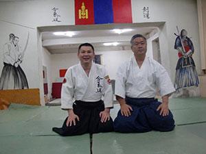 Homma Kancho with Wolf Sensei at  his dojo in Ulaanbaatar