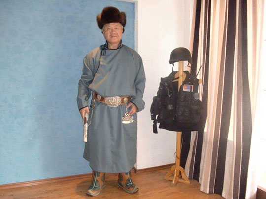 Homma Kancho wearing native clothing (Del) at Wolf Sensei's house