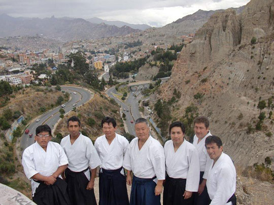 Homma Kancho with representatives of each dojo in Bolivia