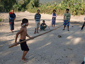 Coconut games blindfolded!
