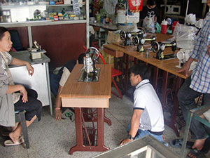 A new sewing machine for the junior high school students