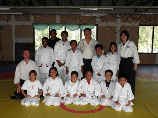 Children brimming with enthusiasm for Aikido! Homma Kancho (center), (right) Moriyama Sensei, (left) Thompson Sensei