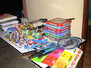School supplies and games for the kids