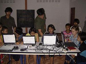 Koichi Sensei teaching how to use the computers