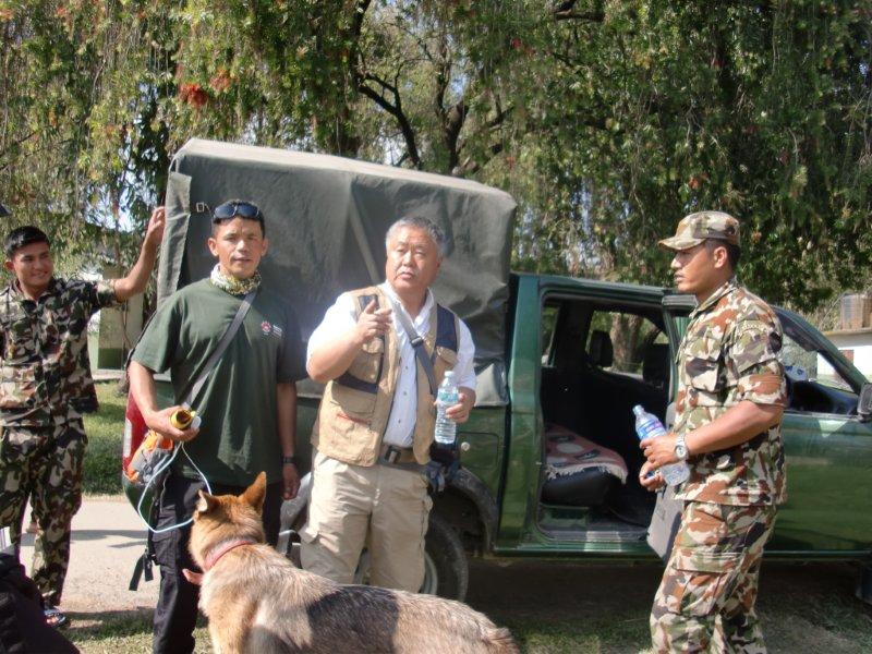 Homma Kancho traveling from Ranger Base to epicenter area