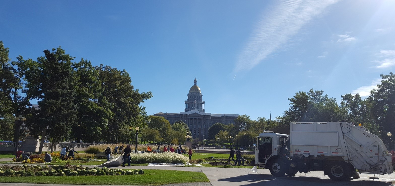 """Putting the """"Beds to Bed"""" –Nippon Kan 26th annual fall volunteer project at Civic Center Park in Denver."""
